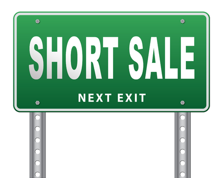 short sale: short sale sign reduced prices sales billboard Stock Photo