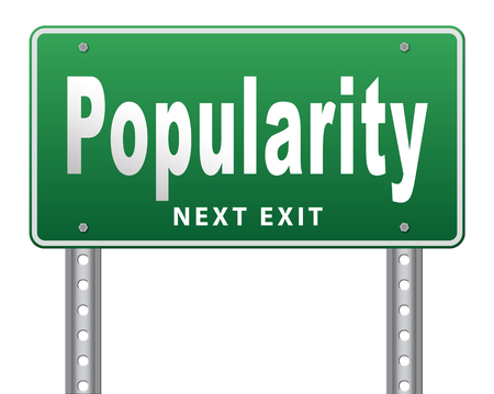 bestseller: Popularity fame and famous for bestseller or market leader and top product or rating in the charts, road sign billboard. Stock Photo