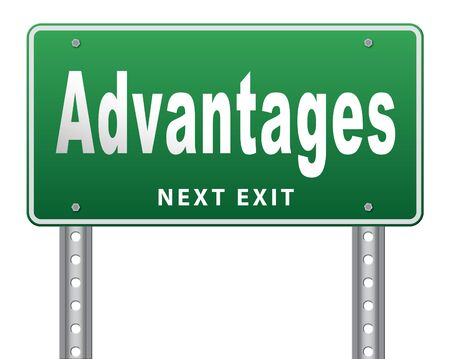 advantage: Advantages and benefits, competetive advantage in business and marketing. Stock Photo