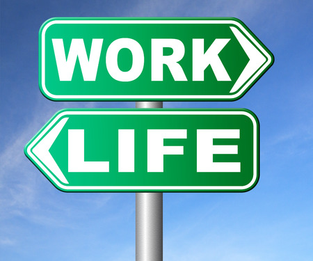stress test: work life balance burnout stress test importance of career versus family leisure time and friends workaholic road sign arrow