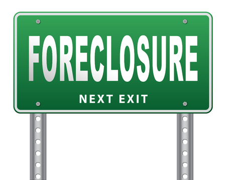 repossession: foreclosure auction notice mortgage house loan paying money costs back to bank to avoid foreclosures and repossession problems billboard sign