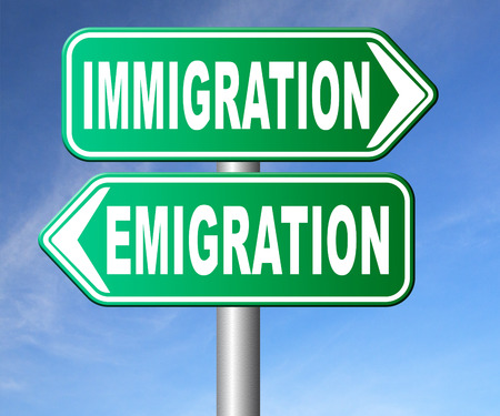 emigration immigration: immigration or emigration political or economic migration by refugees or moving across the border by economic migrants sign