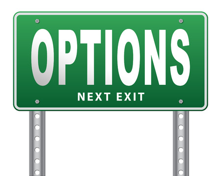 different strategy: Options different opportunities possibilities and alternative strategies, road sign,  bilboard.