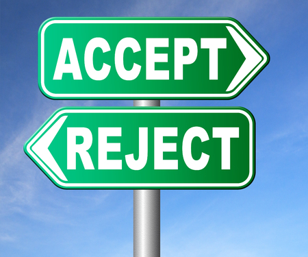 reject: accept reject approve or decline and refuse offer proposal or invitation, yes or no Stock Photo