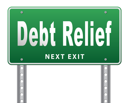 bank crisis: Debt relief after bankruptcy caused by credit or housing bubbles, restructuring finance after economic or bank crisis, road sign billboard.