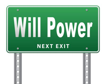mind set: Will power self motivation bite the bullet and set your mind to it, road sign billboard. Stock Photo