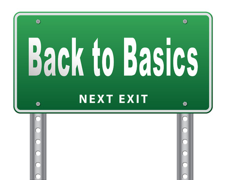 basics: Back to basics to the beginning, keep it simple and basic primitive simplicity, road sign billboard. Stock Photo