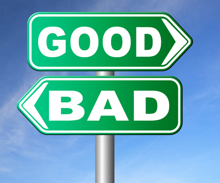 good and bad: good bad a moral dilemma about values and principles right or wrong evil or honest ethics legal or illegal road sign arrow Stock Photo