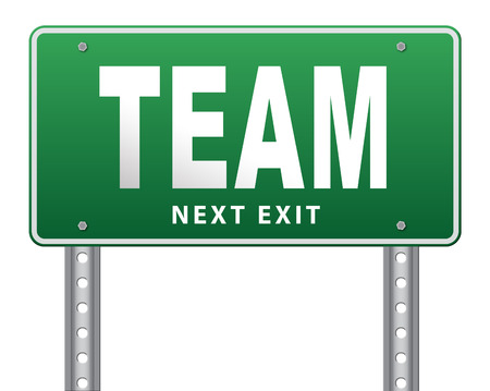 team spirit: Team spirit at work or business our teamwork banner about us road sign Stock Photo