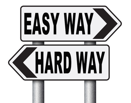 struggle: easy way or hard way take a risk and go for adventure character test less traveled path take the challenge struggle for life Stock Photo