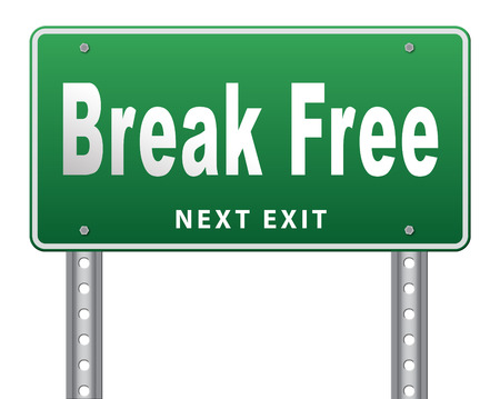prison break: Break free from prison, pressure or quit job, stop running away and go towards stress free world no rules,road sign billboard.