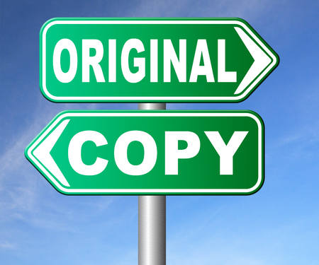 plagiarism: original idea or copycat cheap and bad copy or unique top quality product guaranteed road sign Stock Photo
