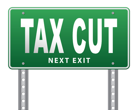 less: Tax cut, lower or reduce taxes and paying less, road sign billboard.