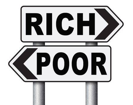 financial risk: rich or poor take financial risk live in wealth good or bad luck and change fortune wealthy or poverty  road sign arrow