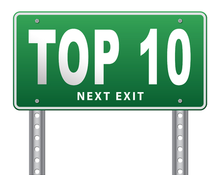 top ten: top 10 charts list pop poll result and award winners chart ranking music hits best top ten quality rating prize winner road sign billboard