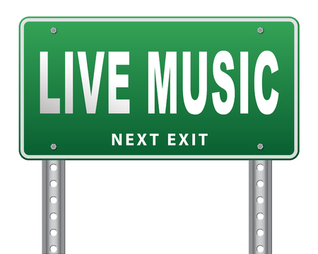 live stream sign: music live stream radio music or listen live on air broadcasting songs program road sign