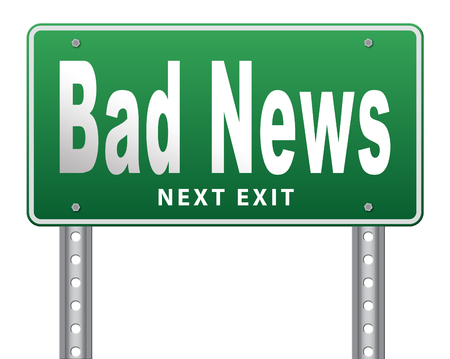 catastrophe: Bad news sign, negative unpleasant message or a catastrophe. Stock Photo