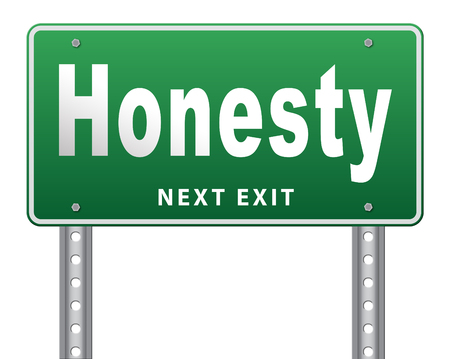 honest: Honest honesty leads a long way find justice search truth, road sign.