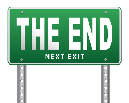 end of road: the end road sign to finish point way out