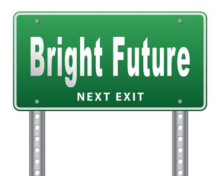 brighter: bright future ahead road sign indicating direction to planning a happy future having a good plan billboard Stock Photo