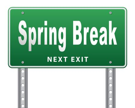 spring break: spring break holiday or school vacation, road sign billboard. Stock Photo