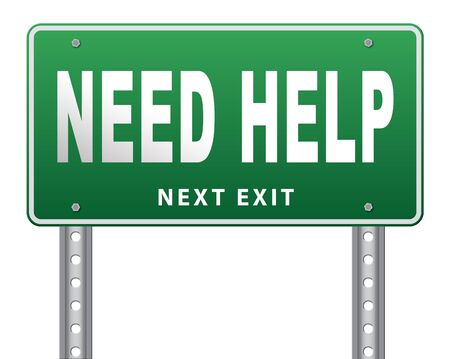 road assistance: need help or wanted helping hand assistance or support desk road sign billboard