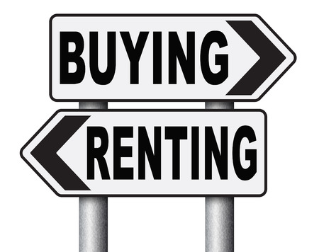 Renting: rent or buy mortgage for bank loan for home ownership renting or buying a house a flat building or property road sign arrow