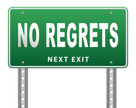 apologize: Regret or no regrets saying sorry and offer apologize being ashamed for bad decisions Stock Photo