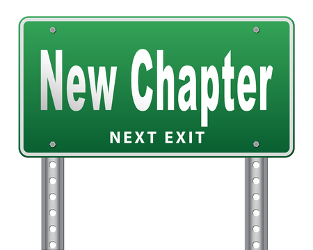 new horizon: New chapter, start fresh over or begin again and have an extra opportunity, road sign billboard.
