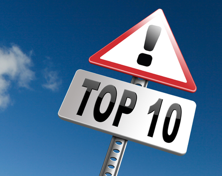 top 10: top 10 charts list pop poll result and award winners chart ranking music hits best top ten quality rating prize winner road sign billboard