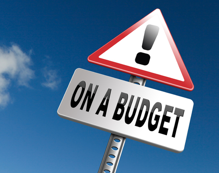 household money: Budgeting the income for deficit or on a budget with a restricted amount of money. Household budget Average revenue and expediture. Stock Photo