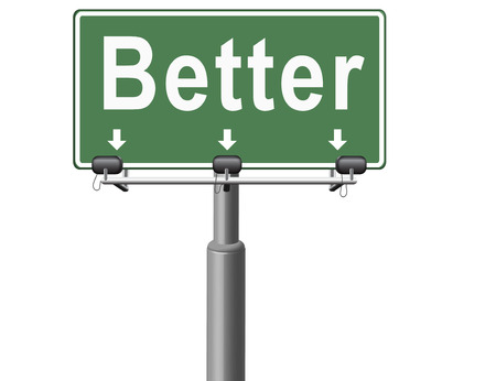 improved: Better and improved, improvement and higher quality, new edition, road sign billboard. Stock Photo