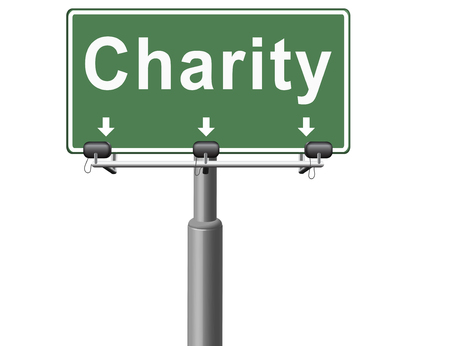 charity collection: charity fund raising raise money to help donate give a generous donation or help with the fundraise gifts, road sign billboard.