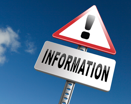 more information: information sign to search more details and find online info Stock Photo