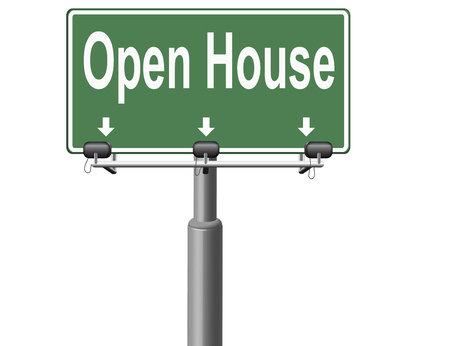 model house: Open house or model house viewing before sale or renting a new home Stock Photo