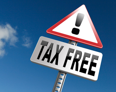 pay cuts: Tax free zone or not paying taxes low price shop having good credit financial success paying debts for financial freedom taxfree, road sign bilboard. Stock Photo