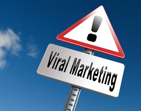 viral marketing: Viral marketing, road sign billboard, strategy going for online internet market Stock Photo