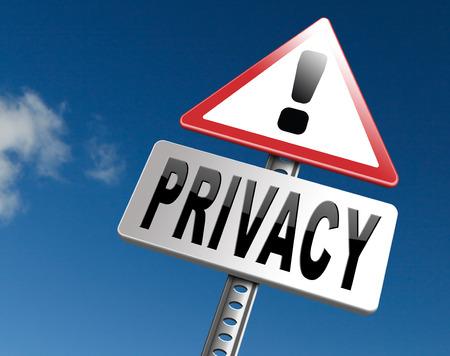 private en persoonlijke informatie verkeersbord, billboard voor de bescherming van de privacy en discretie van restricted info Stockfoto