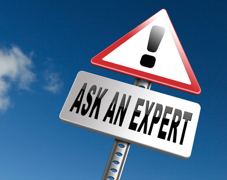 Ask an expert, professional expertise. Advice from business consultant. Road sign billboard. Stock Photo