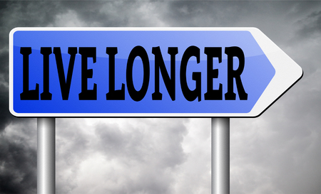 better icon: live longer sign or icon. Living healthy and stress free helps longevity and a life in good health Stock Photo