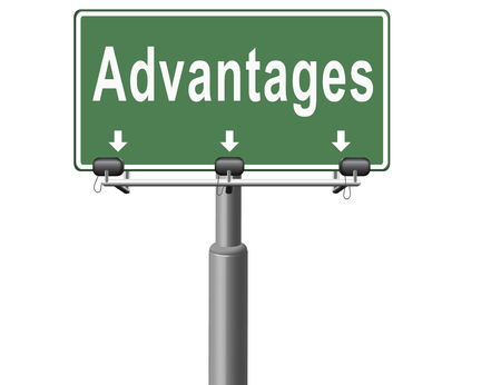 Advantages and benefits, competetive advantage in business and marketing. Stock Photo