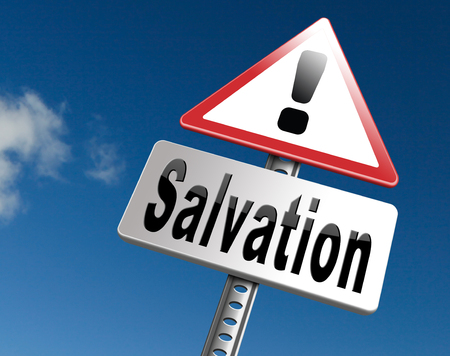 salvation follow jesus and god to be rescued save your soul, road sign billboard. Stock Photo