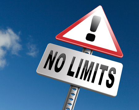limitations: no limits or boundaries unlimited and without restrictions road sign billboard Stock Photo