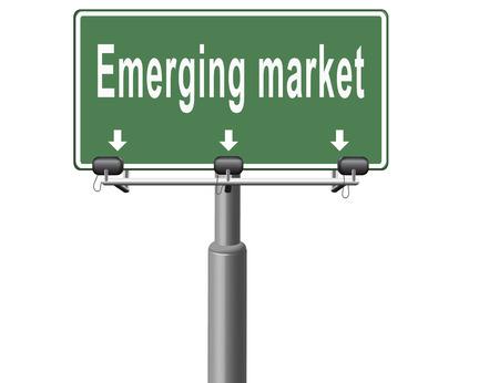 emerging markets: Emerging market new fast growing economy frantic economies, road sign billboard. Stock Photo