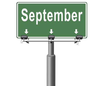 next year: september road sign for end of summer and begin fall or autumn month event agenda Stock Photo