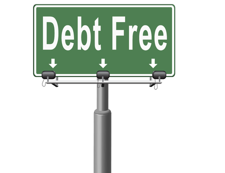 financial freedom: debt free zone or tax reduction today relief of taxes having good credit financial success paying debts for financial freedom road sign billboard