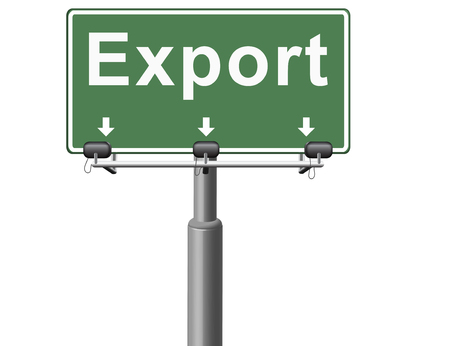 global trade: Export international freight transportation and global trade logistics, world economy exportation of products, road sign billboard. Stock Photo