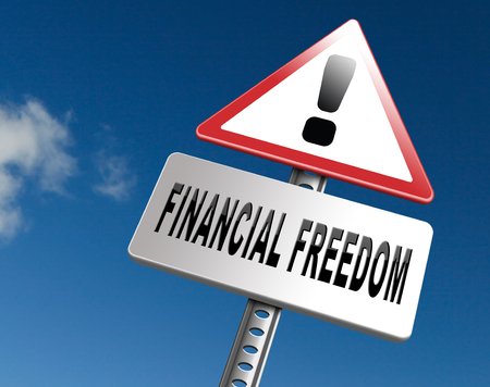 sufficient: financial freedom and economic independence self sufficient with retirement plan and debt free sign.