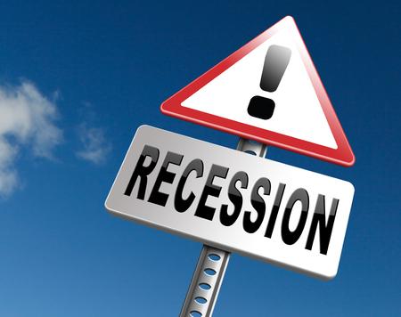 Recession crisis bank and stock crash economic and financial bank recession market crash, road sign billboard.