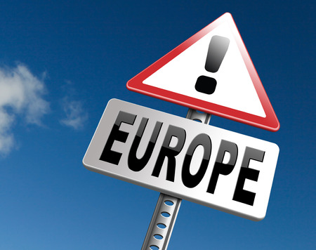 Europe indicating direction to explore the old continent travel vacation tourism, road sign billboard. Stock Photo